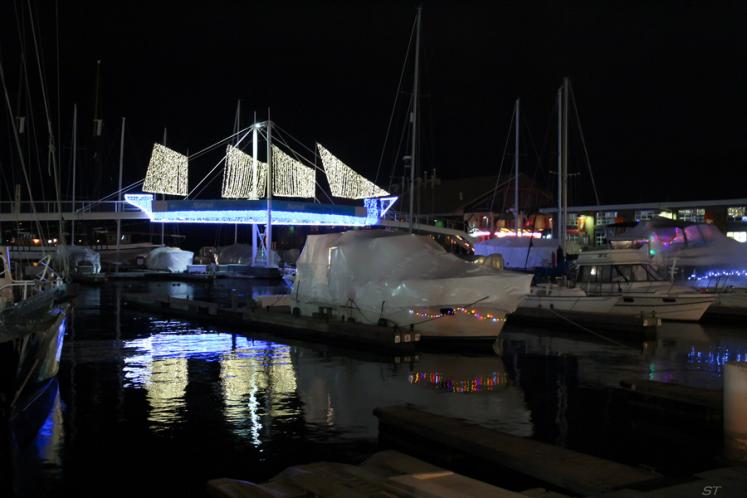 Toronto Photos :: Waterfront :: A lakefront marina at night