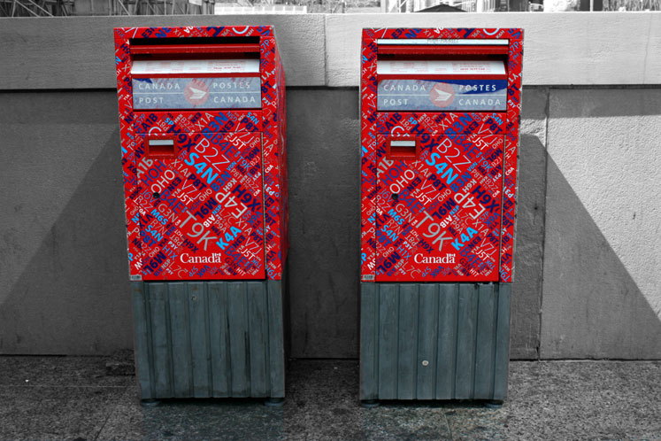 Toronto Photos :: Union Station :: Toronto. Canada Post letter boxes near Union Station